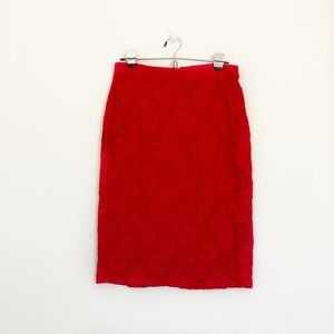 Anthropologie Pink Red Lace Pencil Skirt
